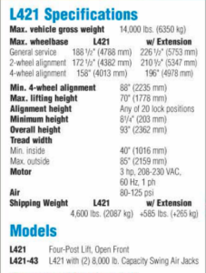 Model: L421-43 - Specifications